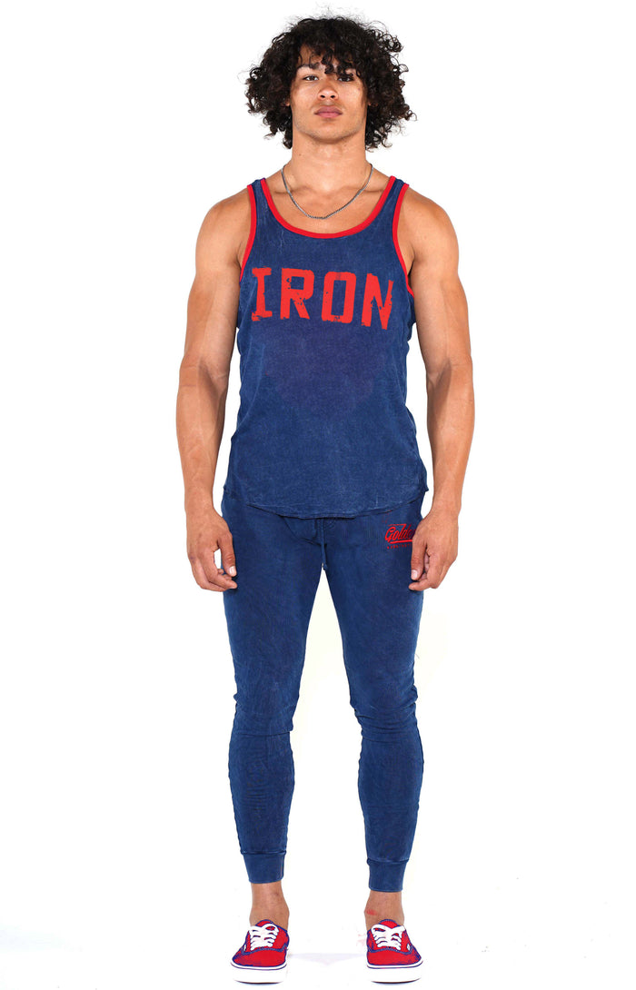 Men's Navy Iron Ringer Tank - Golden Aesthetics