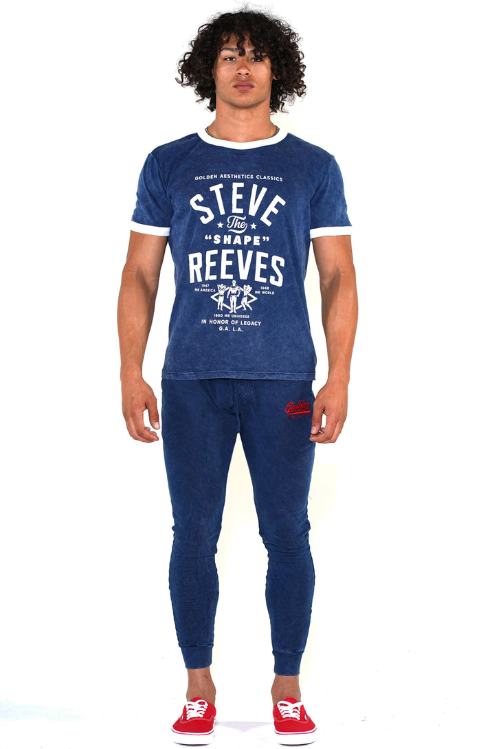 Men's Navy/White Steve Reeves Ringer T-Shirt - Golden Aesthetics