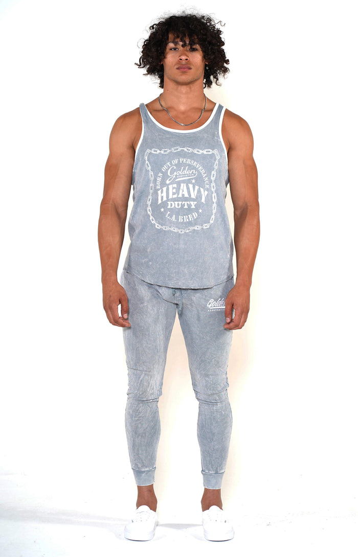 Men's Cool Grey Heavy Duty Ringer Tank - Golden Aesthetics