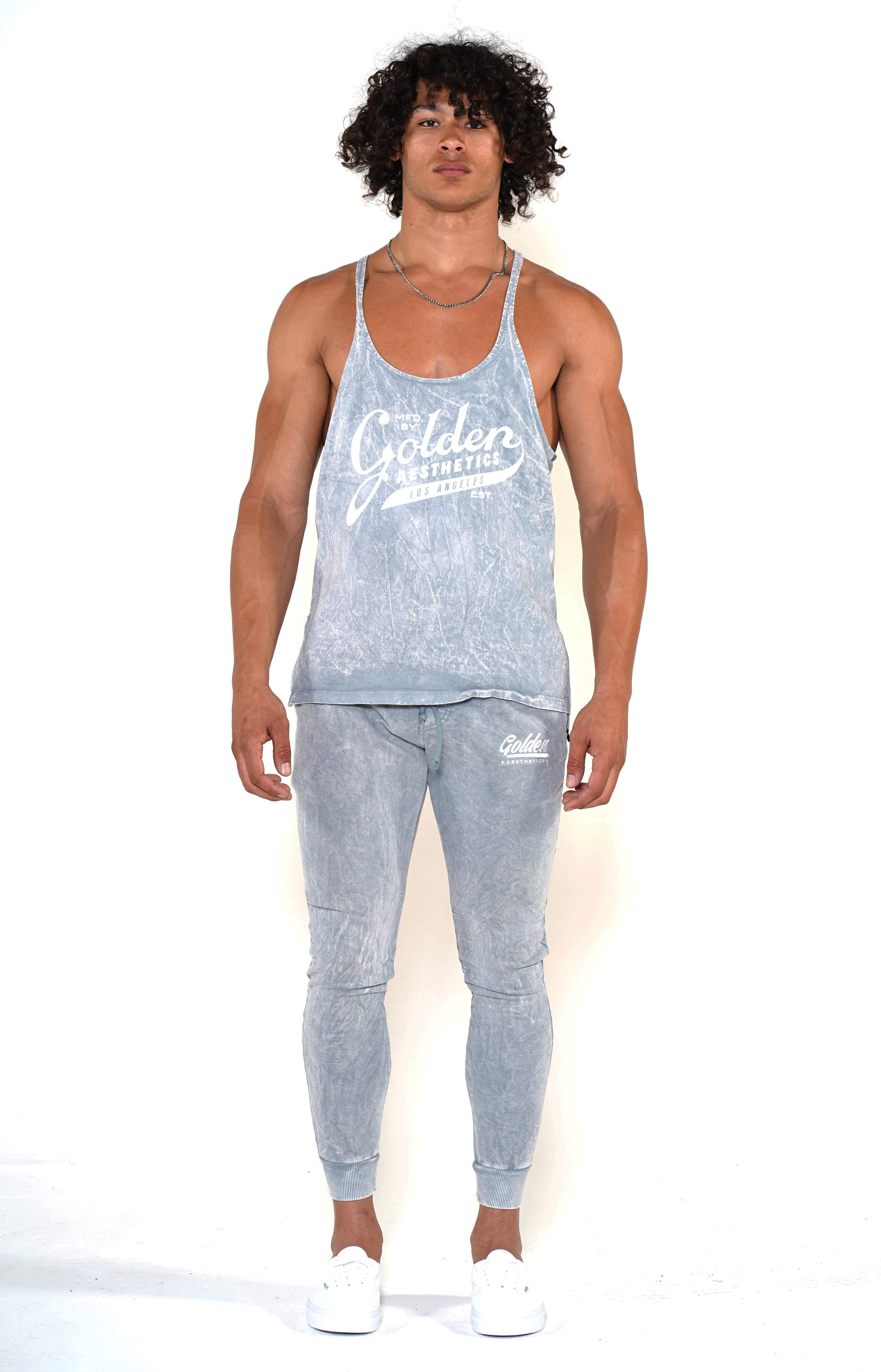 Men's Cool Grey Original Stringer Tank - Golden Aesthetics