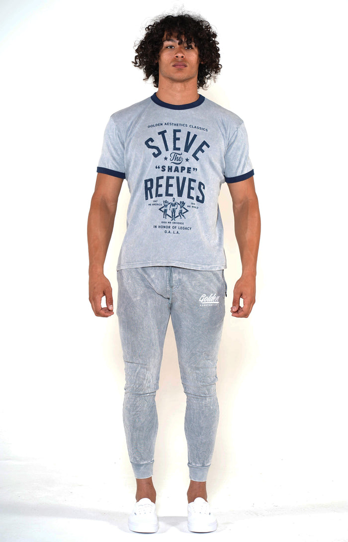 Men's Cool Grey/Navy Steve Reeves Ringer T-Shirt - Golden Aesthetics