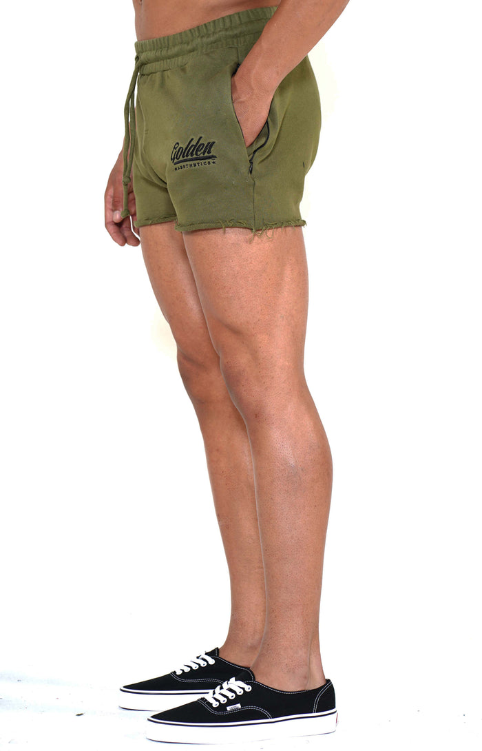 Men's Army Green/Black Shorts - Golden Aesthetics