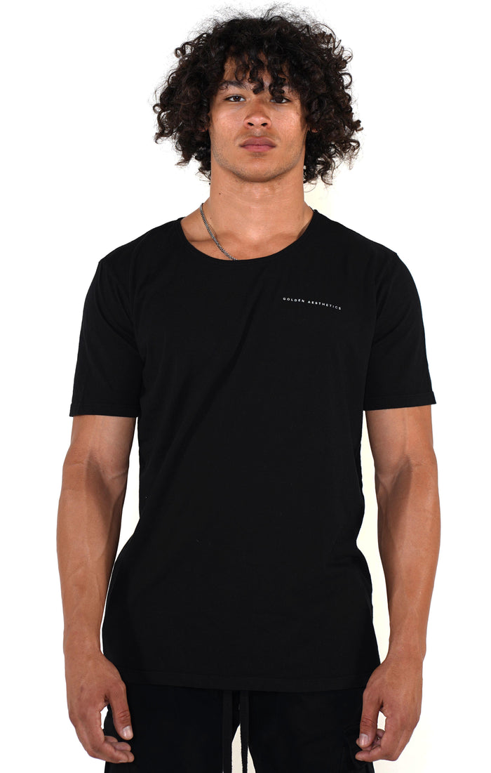 Men's Black Scoop Neck T-Shirt - Golden Aesthetics