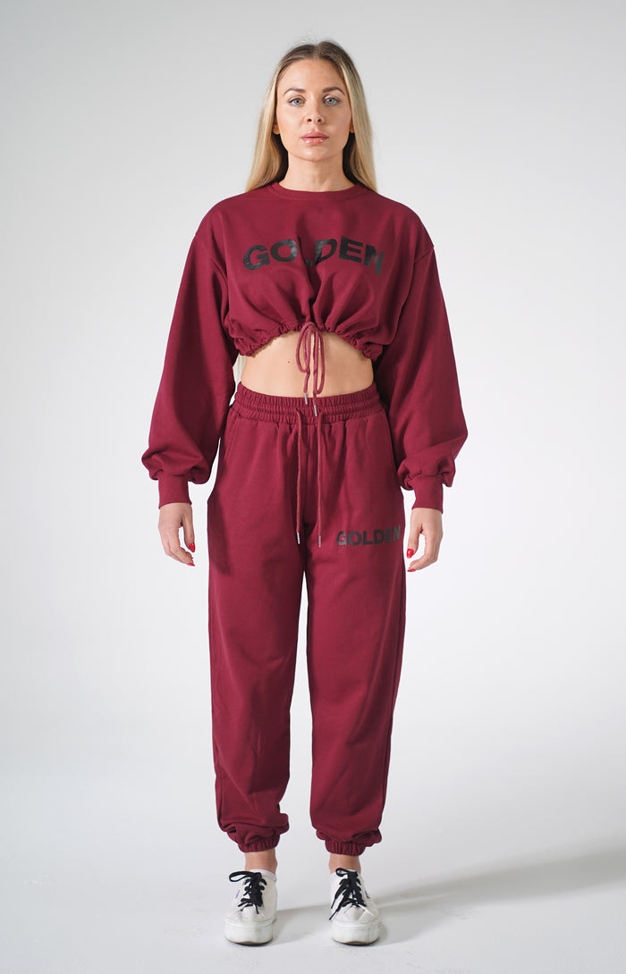 Burgundy Golden Sweatsuit