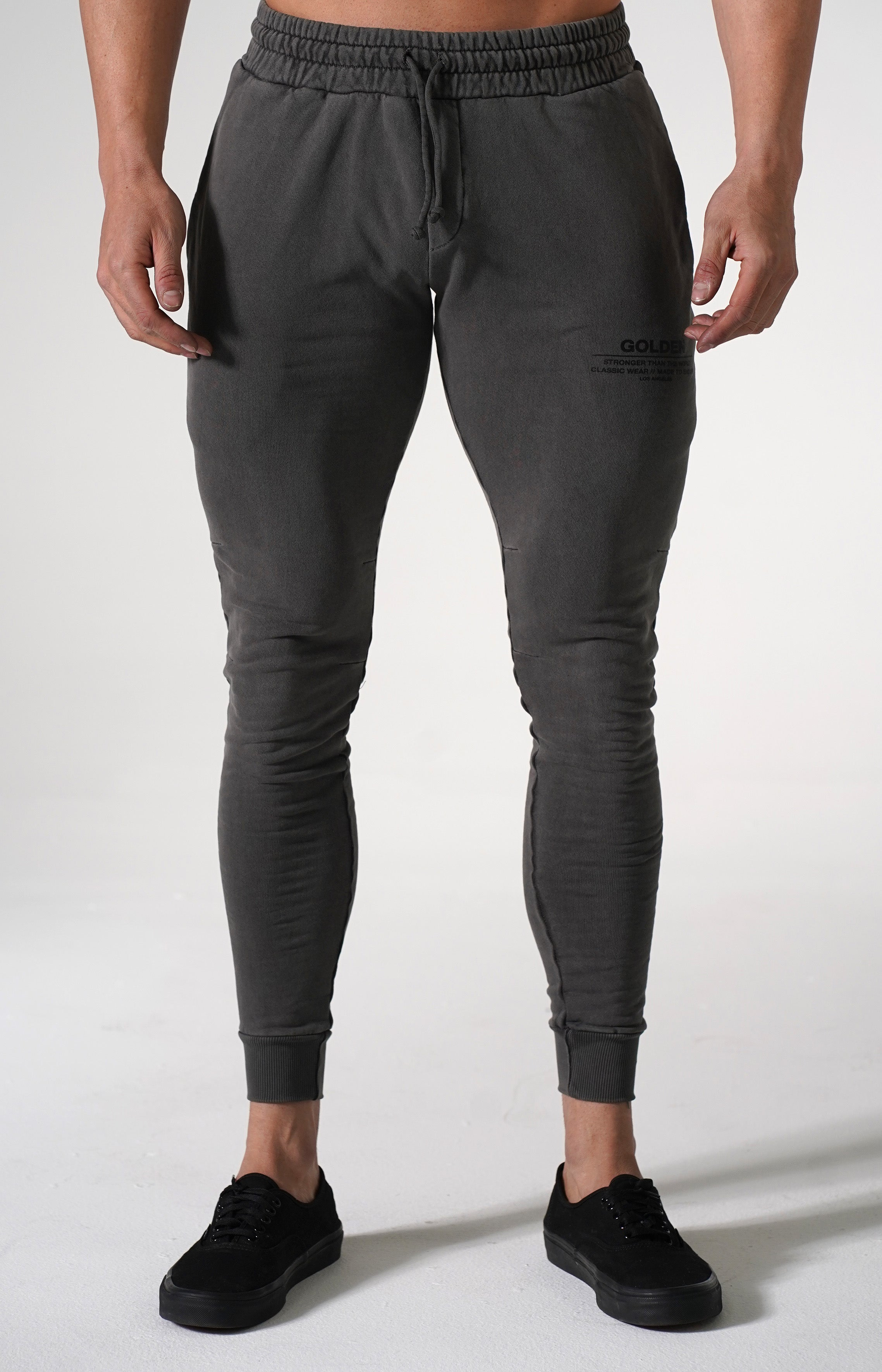 Black Pigment Golden Joggers