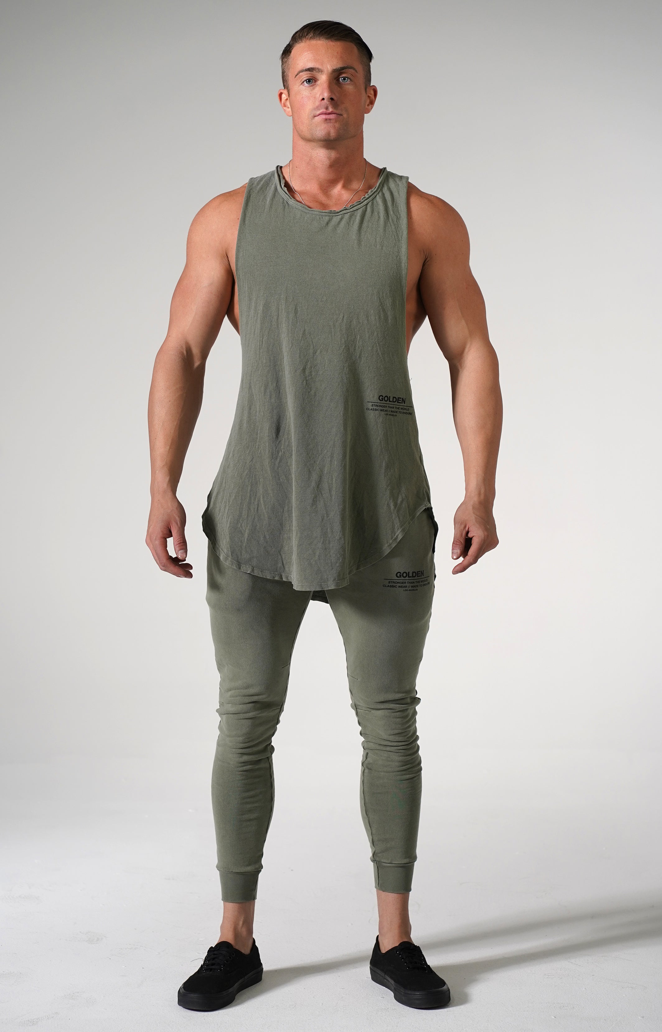 Faded Army Golden Muscle Tank
