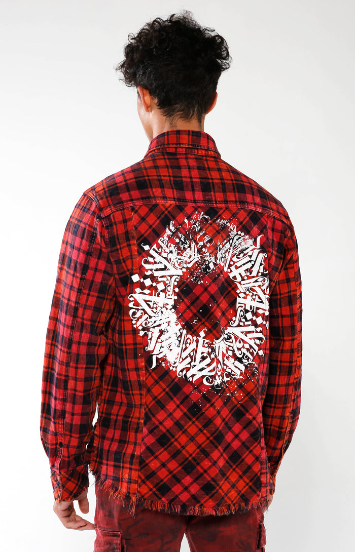 Men's Red Checkered Calligraffiti Flannel | Golden Aesthetics - Golden Aesthetics