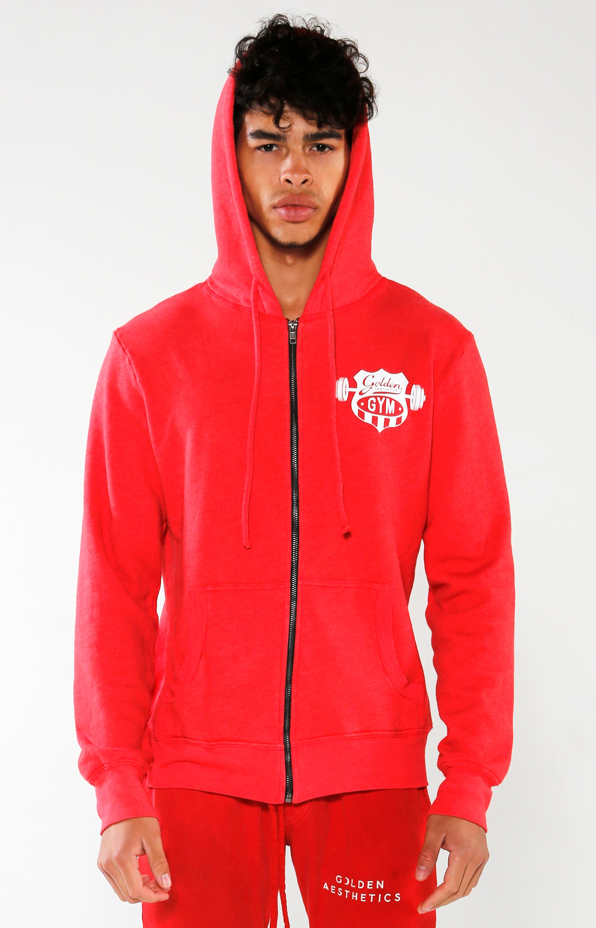 Men's Red Gym Crest Hoodie | Golden Aesthetics - Golden Aesthetics