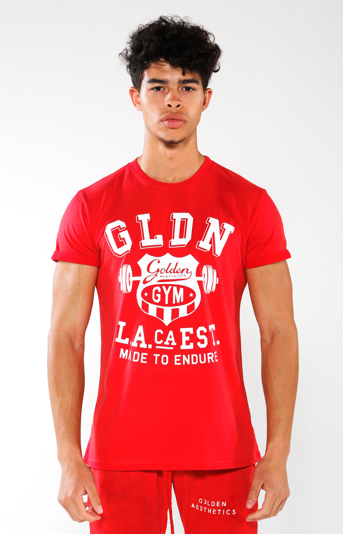 Men's Red Gym Crest T-Shirt | Golden Aesthetics - Golden Aesthetics