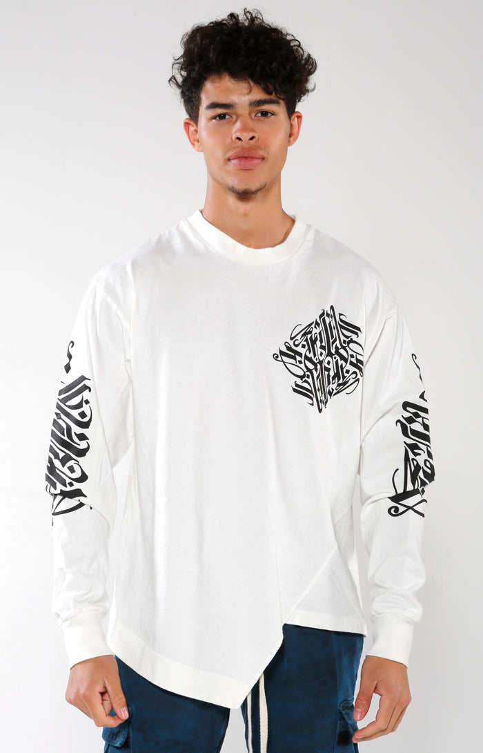 Men's White Long Sleeve Calligraffiti Top | Golden Aesthetics - Golden Aesthetics