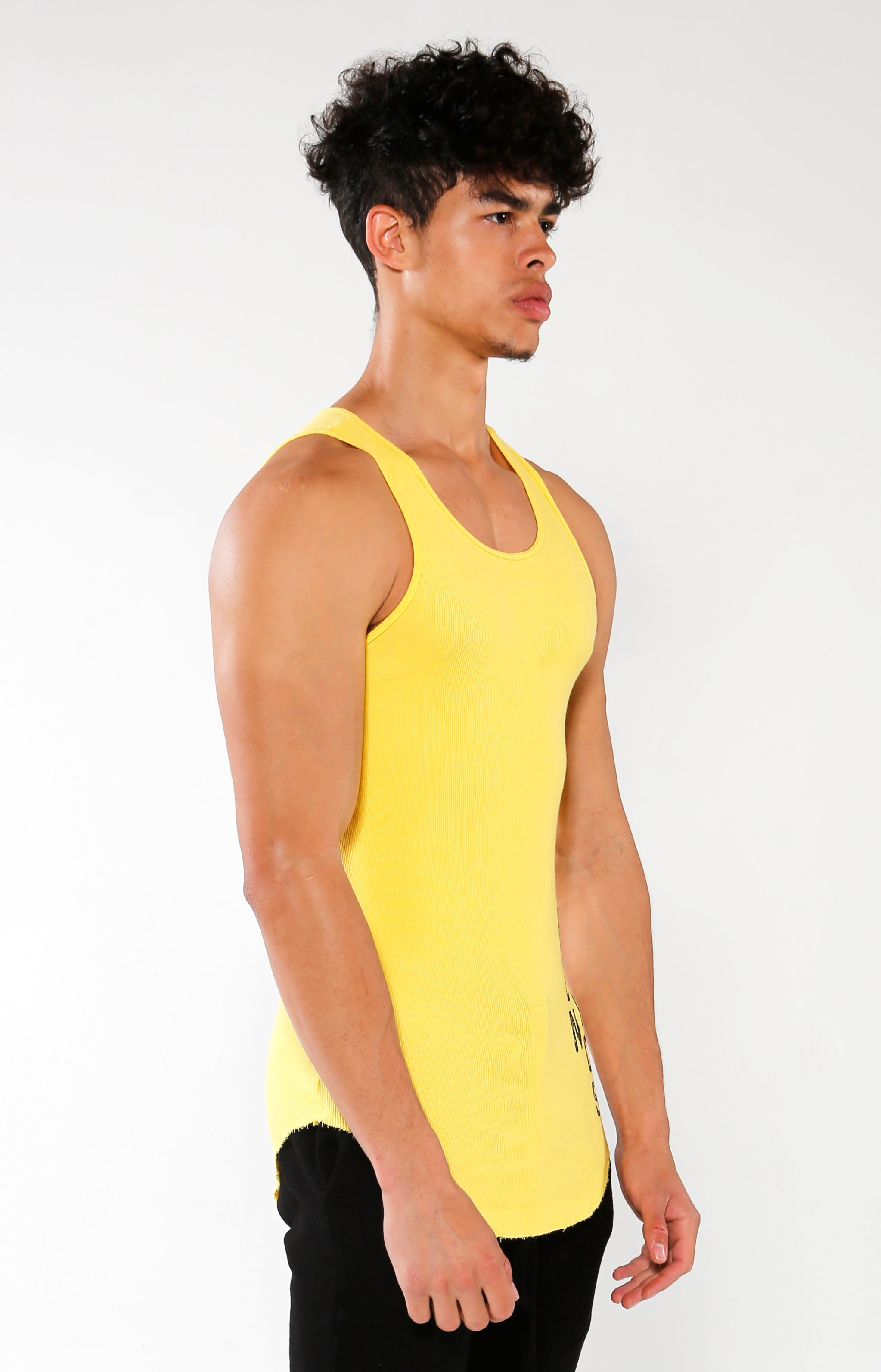 Men's Yellow GA Ribbed Tank | Golden Aesthetics - Golden Aesthetics