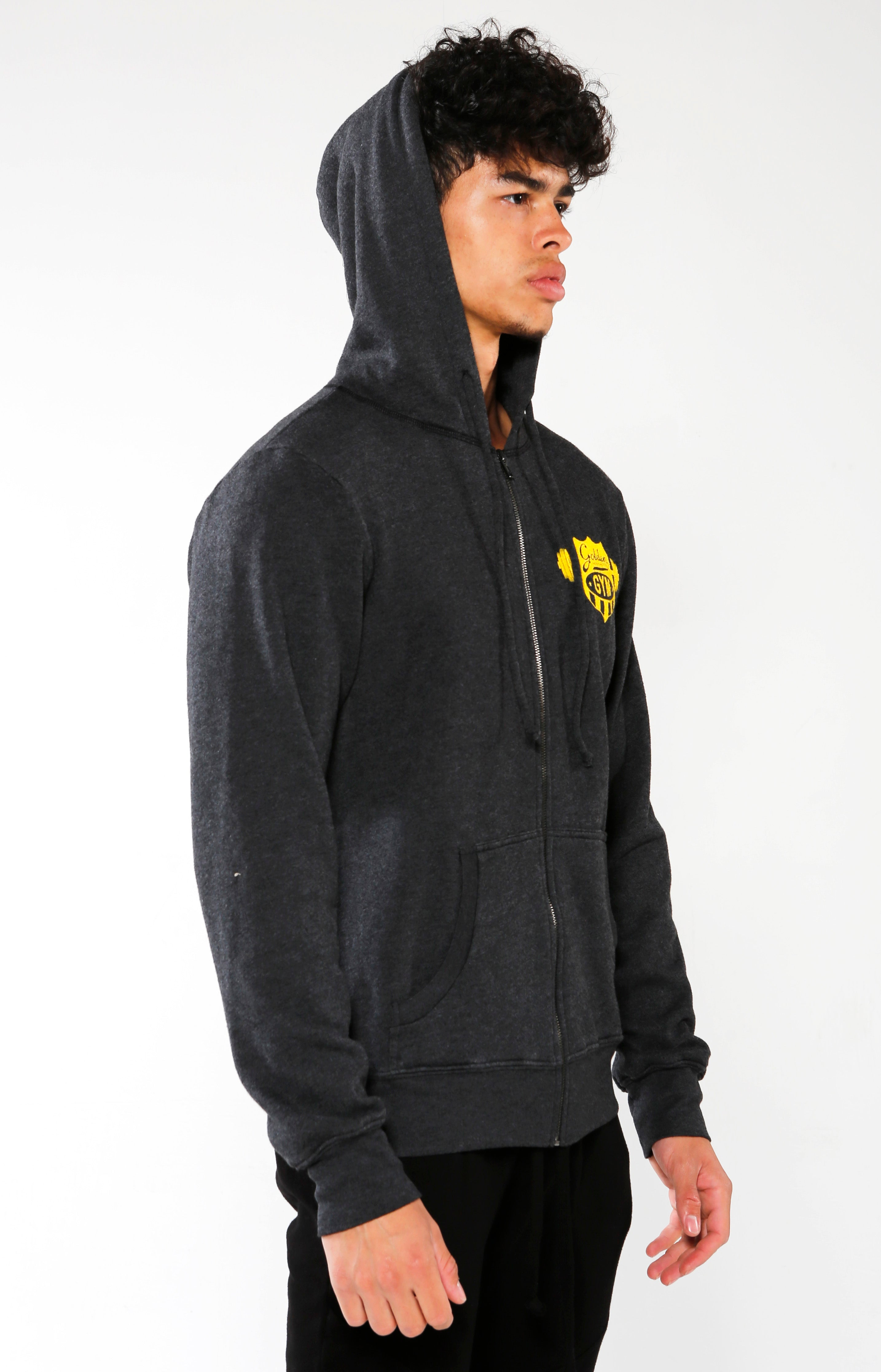 Men's Black Gym Crest Hoodie | Golden Aesthetics - Golden Aesthetics