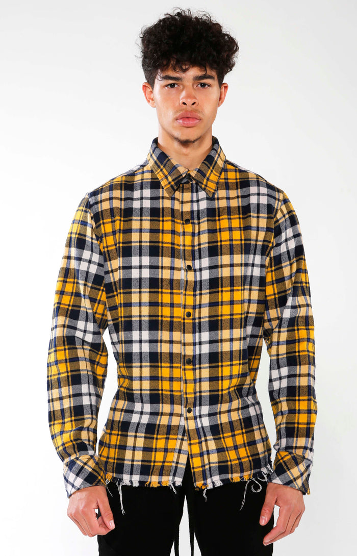 Men's Yellow Checkered Calligraffiti Flannel | Golden Aesthetics - Golden Aesthetics