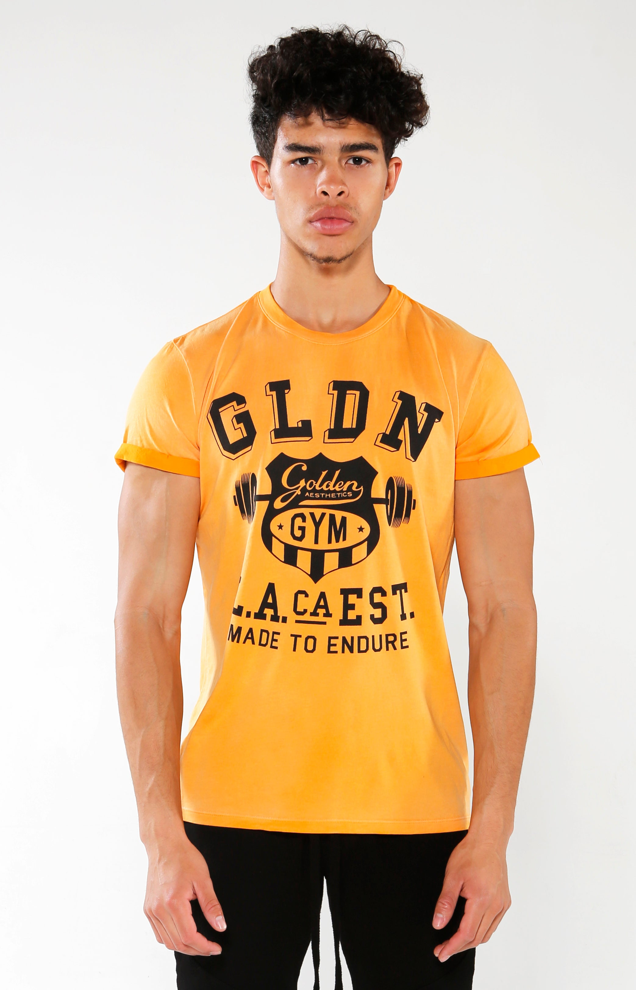 Men's Yellow Gym Crest T-Shirt | Golden Aesthetics - Golden Aesthetics