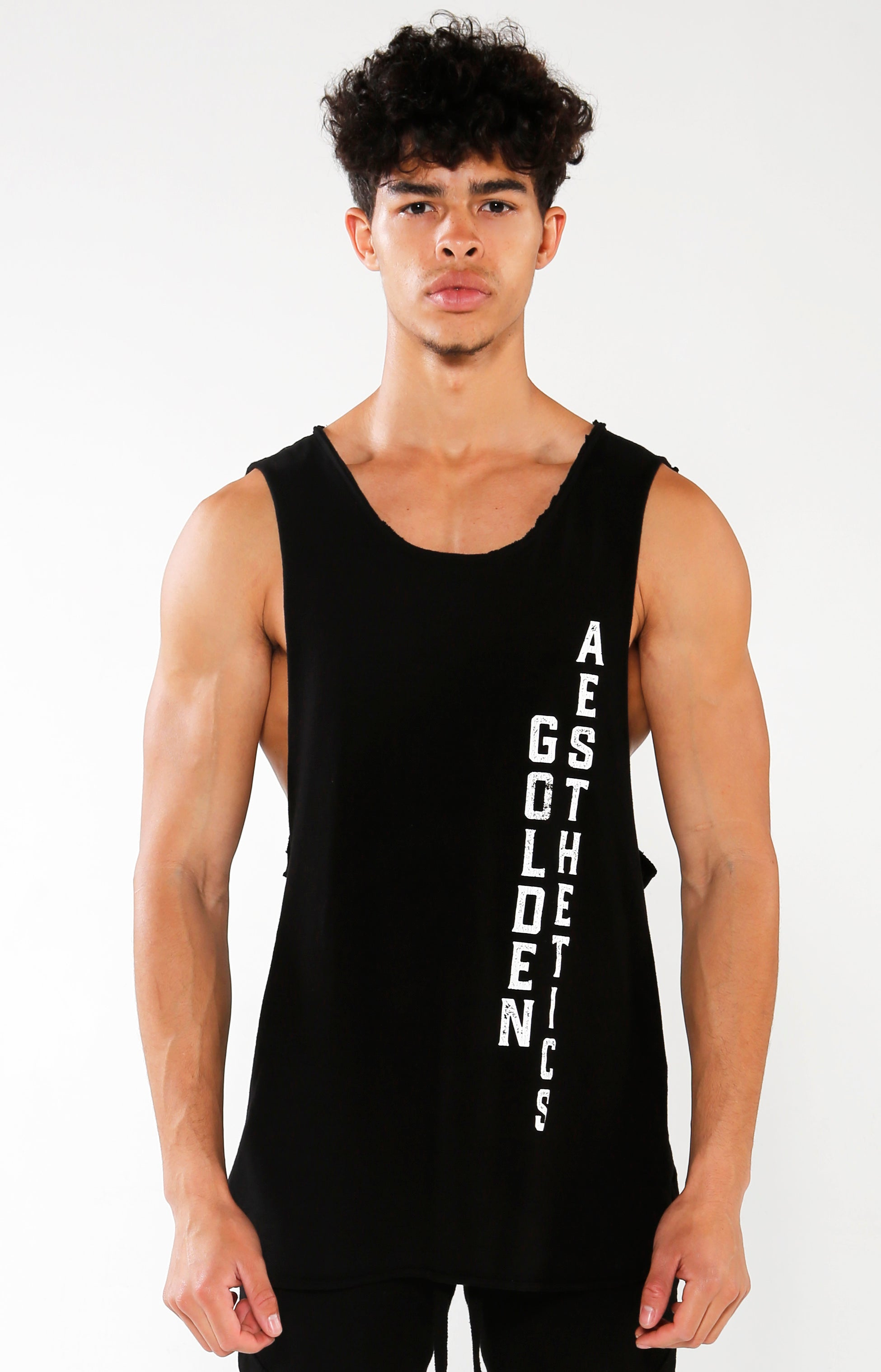 Men's Black GA Street Tank | Golden Aesthetics - Golden Aesthetics