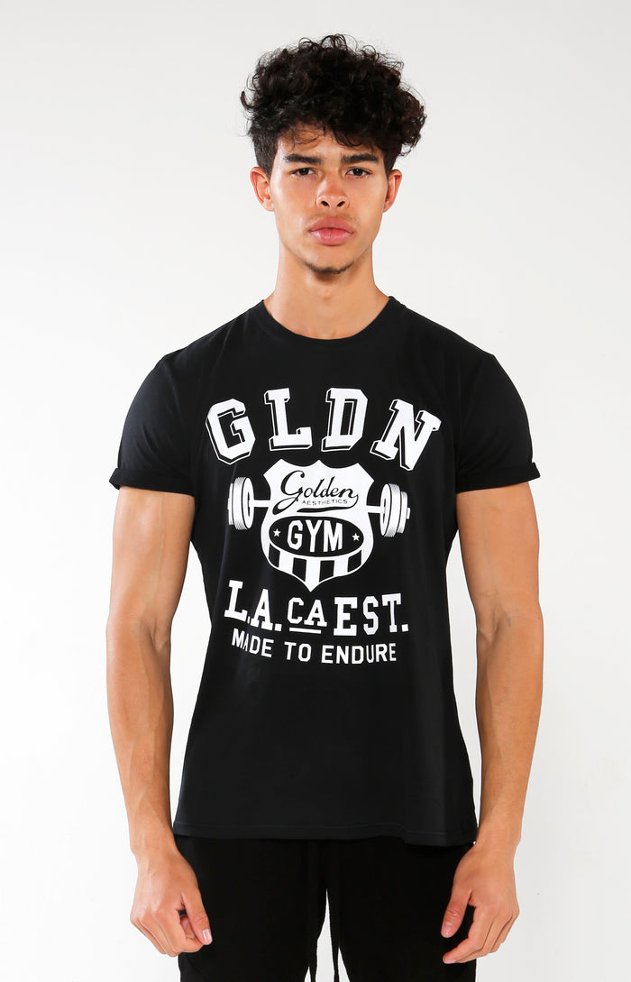 Men's Black GLDN Crest T-Shirt | Golden Aesthetics - Golden Aesthetics