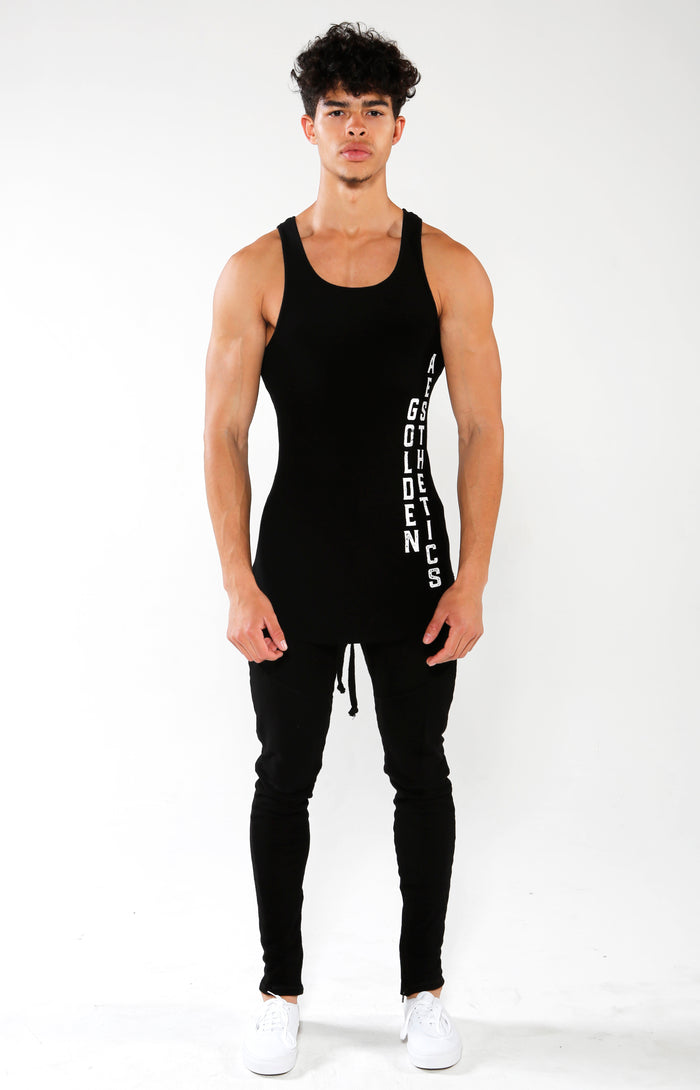 Men's Black GA Ribbed Tank | Golden Aesthetics - Golden Aesthetics