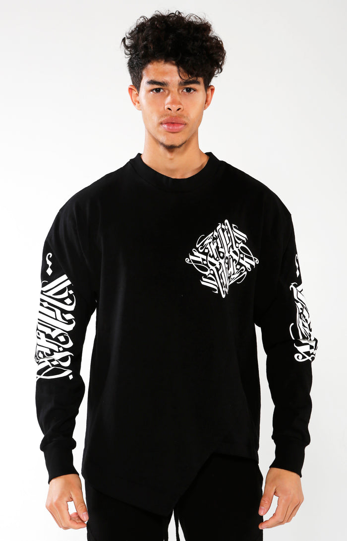 Men's Black Long Sleeve Calligraffiti Top | Golden Aesthetics - Golden Aesthetics