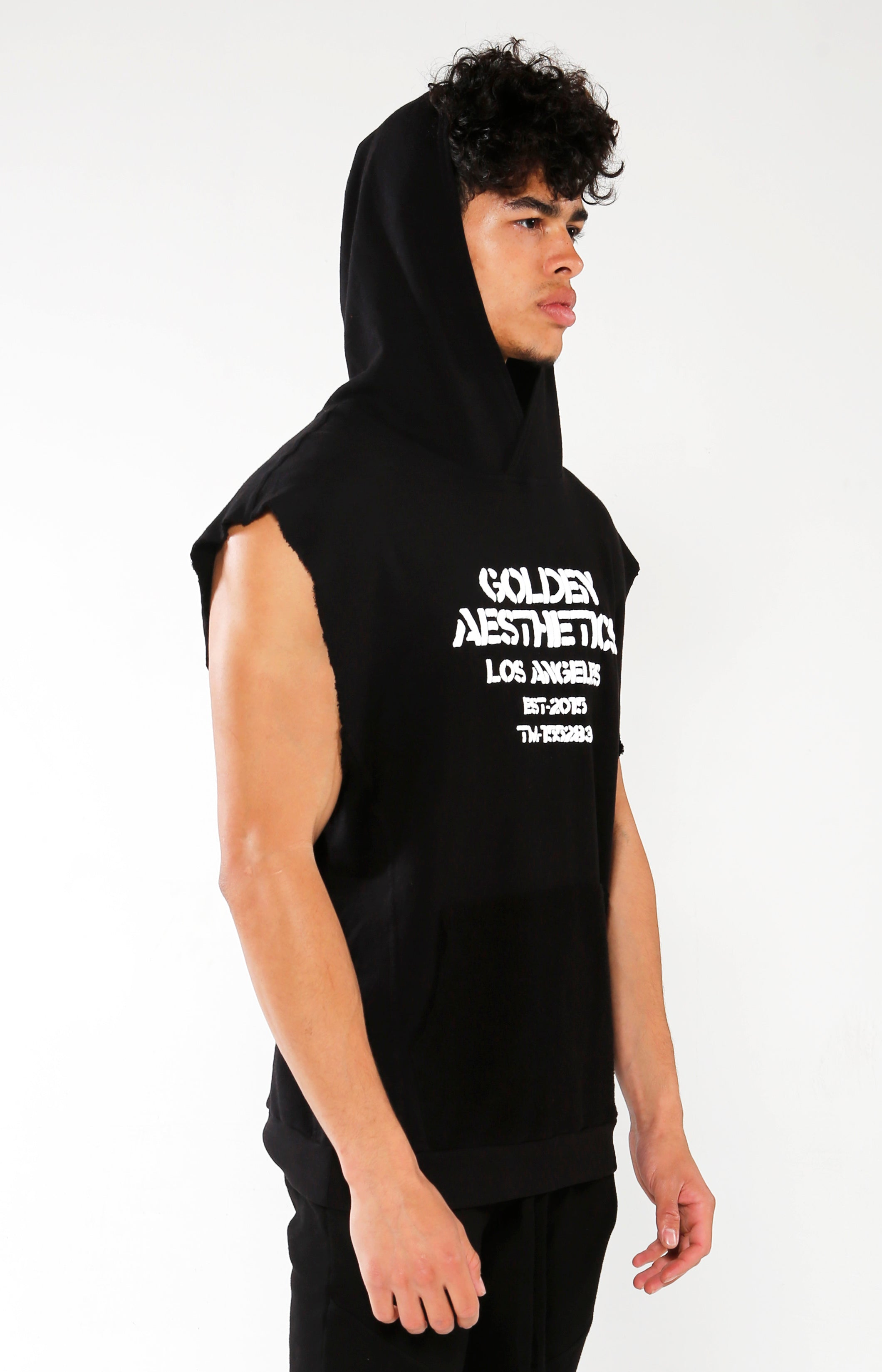 Men's Black Embossed Sleeveless Hoodie | Golden Aesthetics - Golden Aesthetics