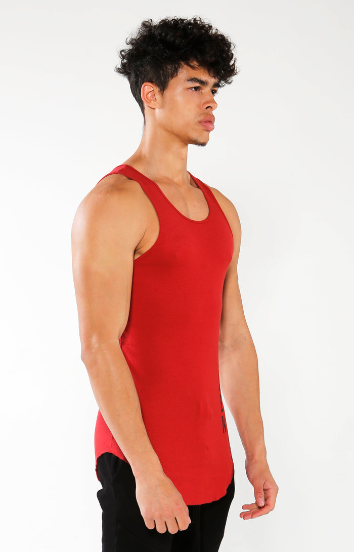 Men's Red GA Ribbed Tank | Golden Aesthetics - Golden Aesthetics