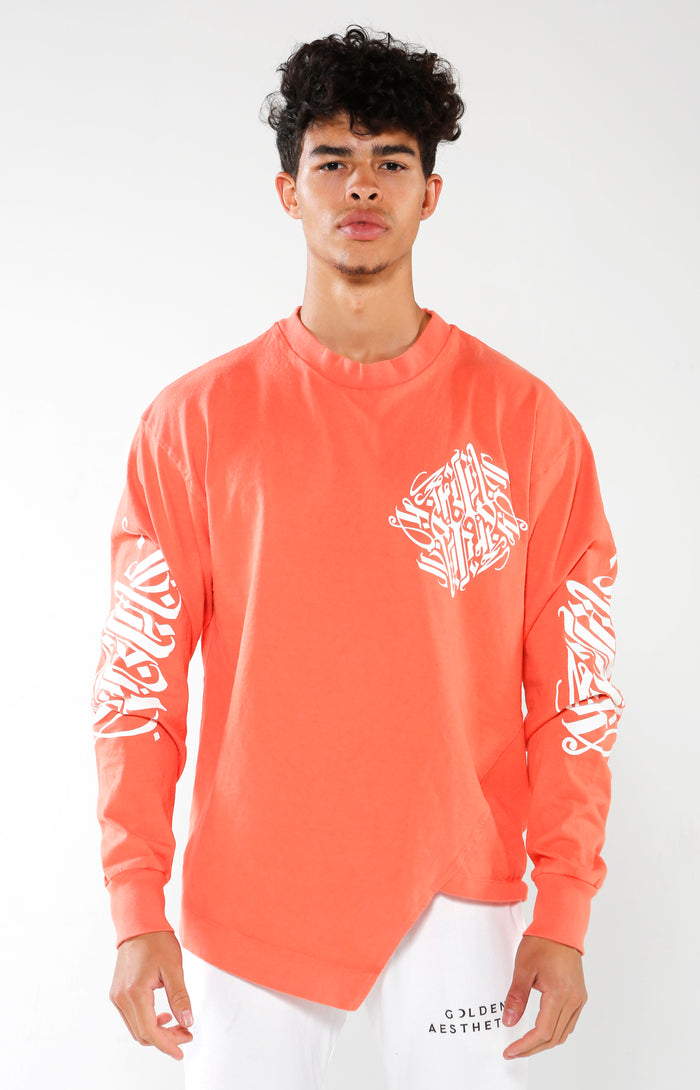 Men's Coral Long Sleeve Calligraffiti Top | Golden Aesthetics - Golden Aesthetics
