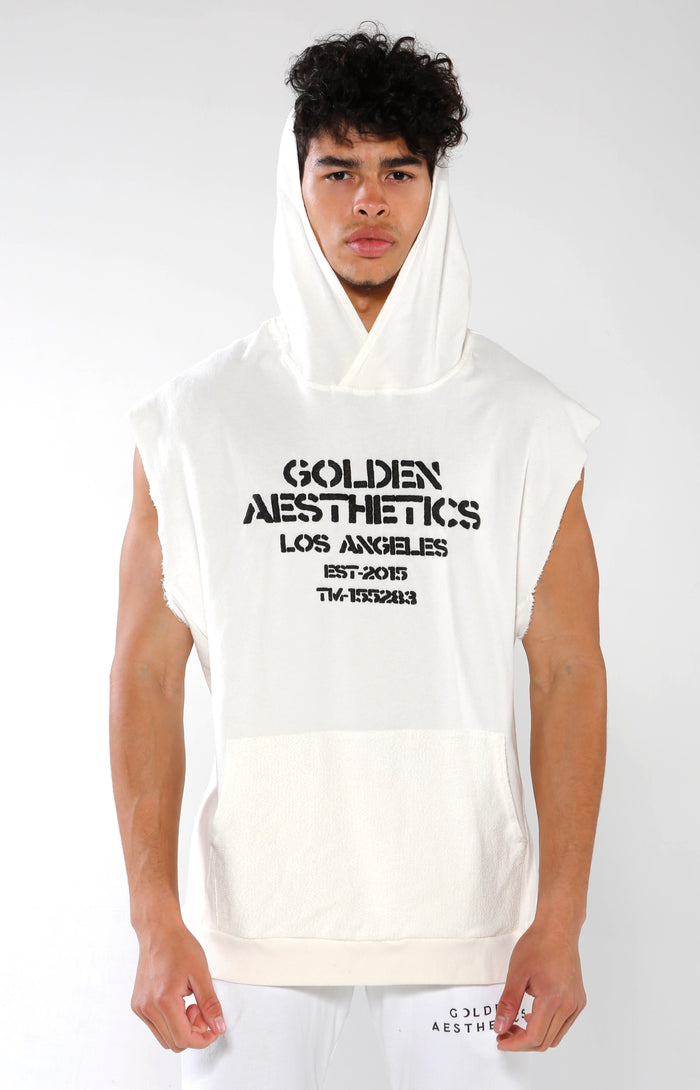 Men's White Embossed Sleeveless Hoodie | Golden Aesthetics - Golden Aesthetics