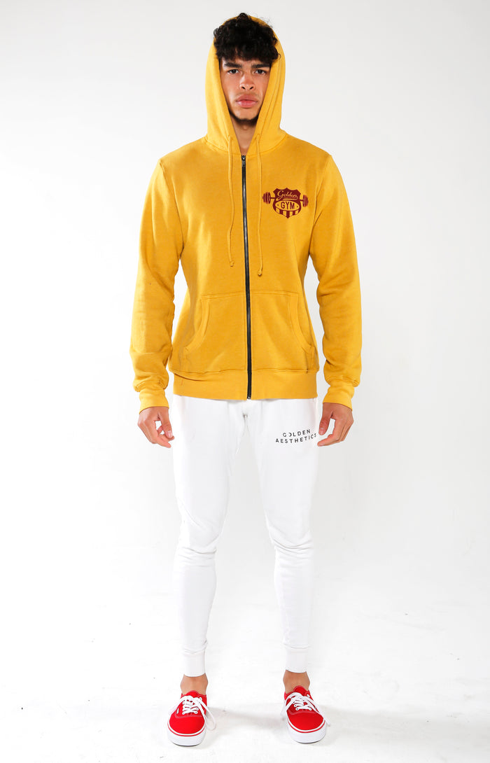 Men's Yellow Gym Crest Hoodie | Golden Aesthetics - Golden Aesthetics
