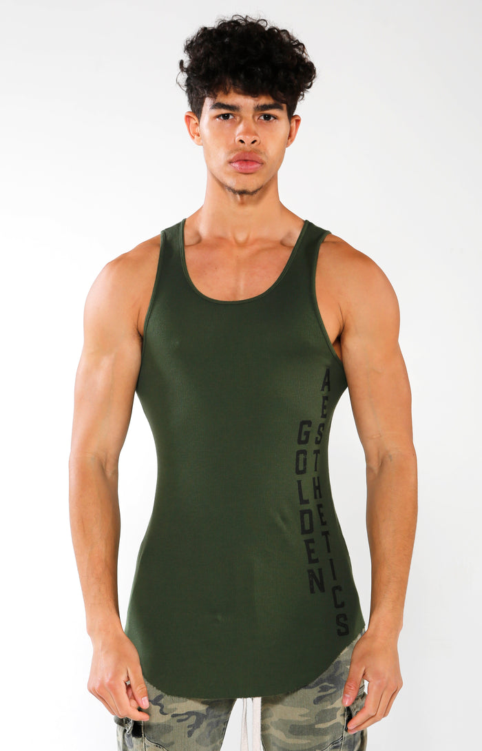 Men's Green GA Ribbed Tank | Golden Aesthetics - Golden Aesthetics