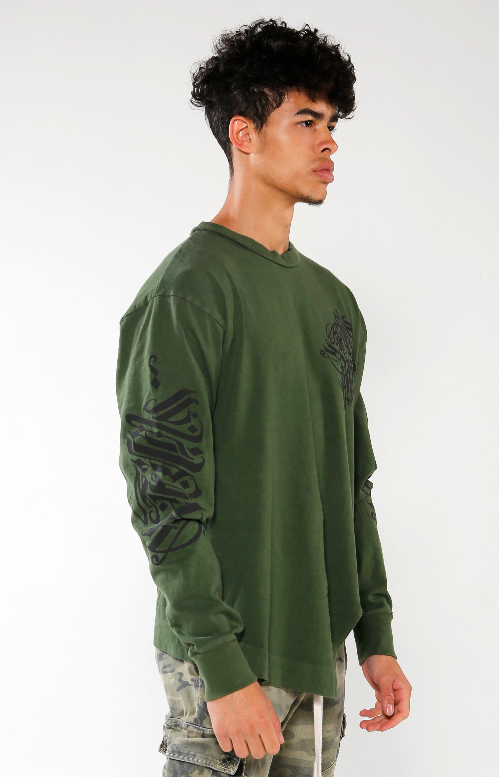 Men's Olive Long Sleeve Calligraffiti Top | Golden Aesthetics - Golden Aesthetics