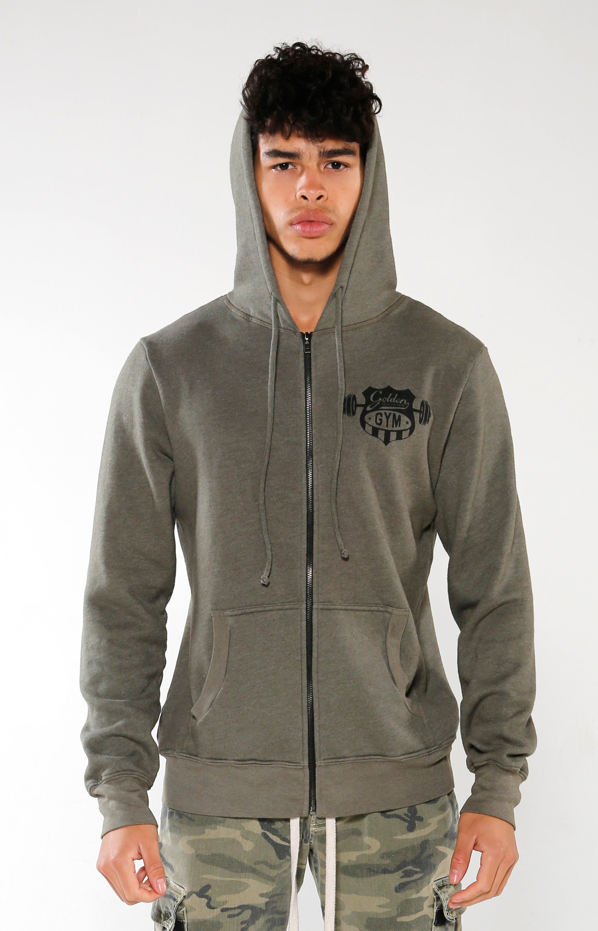 Men's Olive Gym Crest Hoodie | Golden Aesthetics - Golden Aesthetics