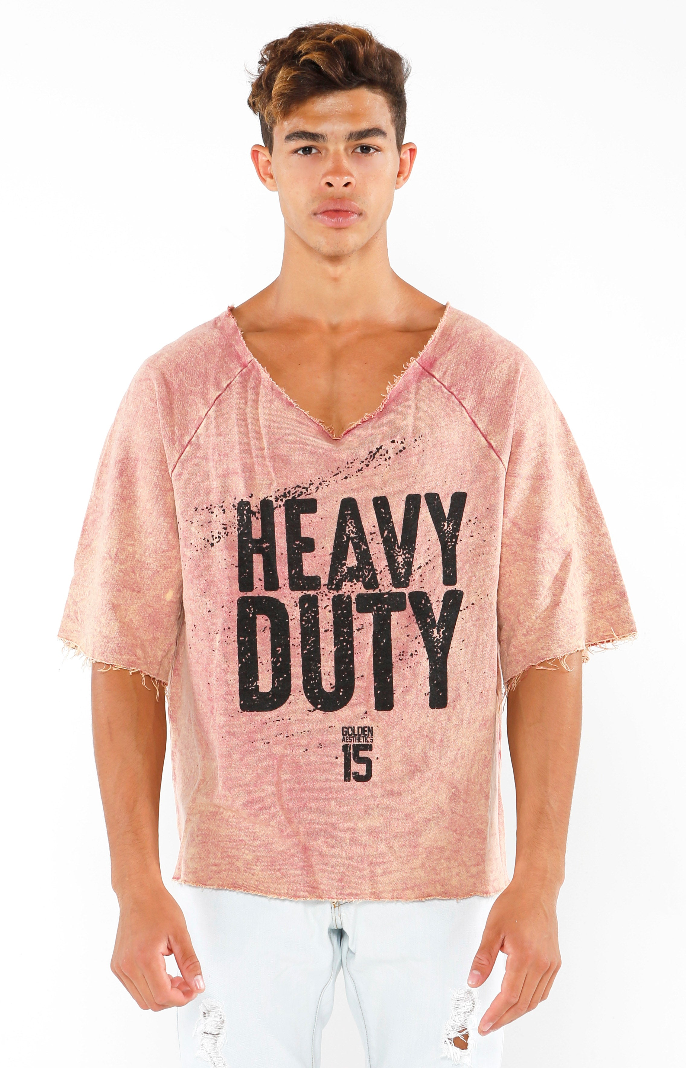 Heavy Duty Raw Cut Top - Faded Red/Black - Golden Aesthetics