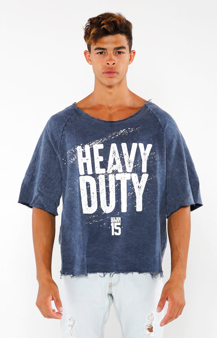 Heavy Duty Raw Cut Top - Faded Blue/White - Golden Aesthetics
