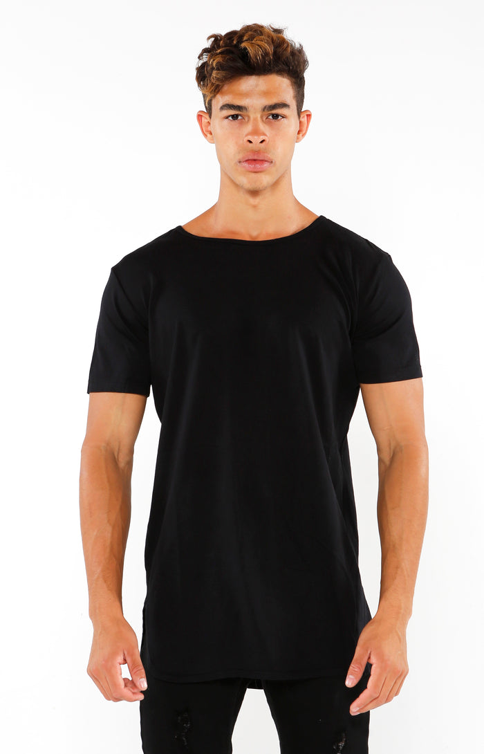 Split Hem Supima Short Sleeve - Jet Black