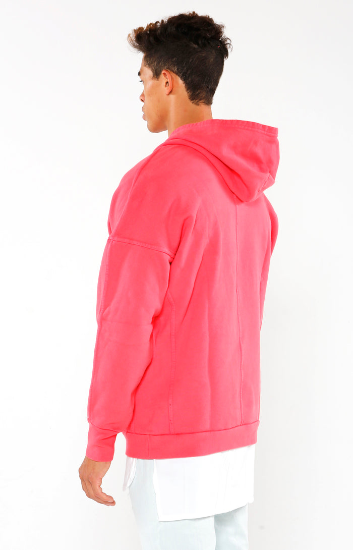 Paneled Supima Hoodie - Faded Red - Golden Aesthetics