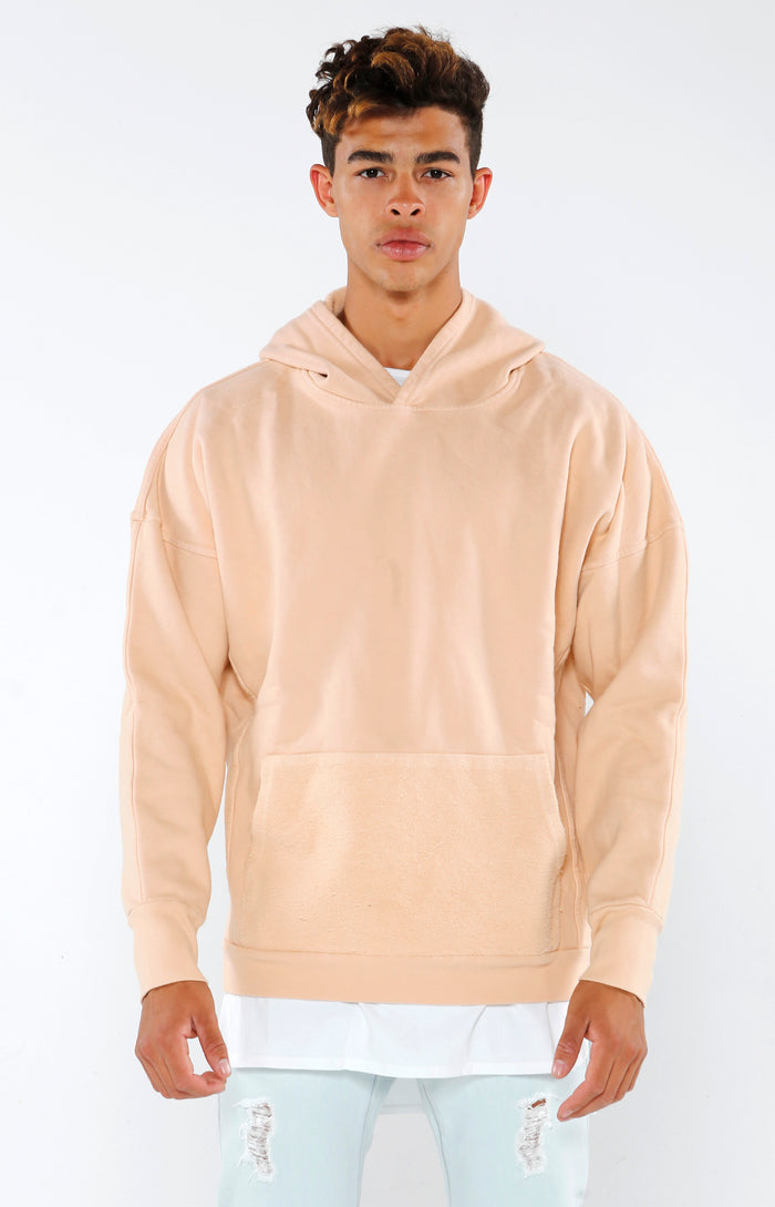 Paneled Supima Hoodie - Blush - Golden Aesthetics