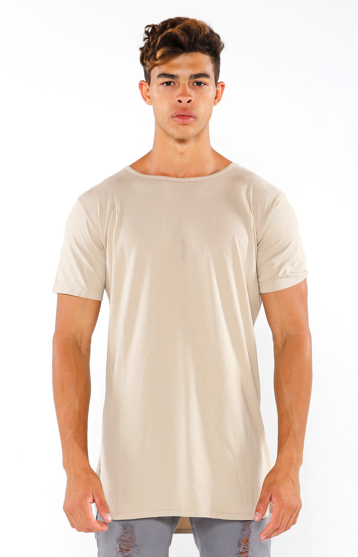 Split Hem Supima Short Sleeve - Sandstone