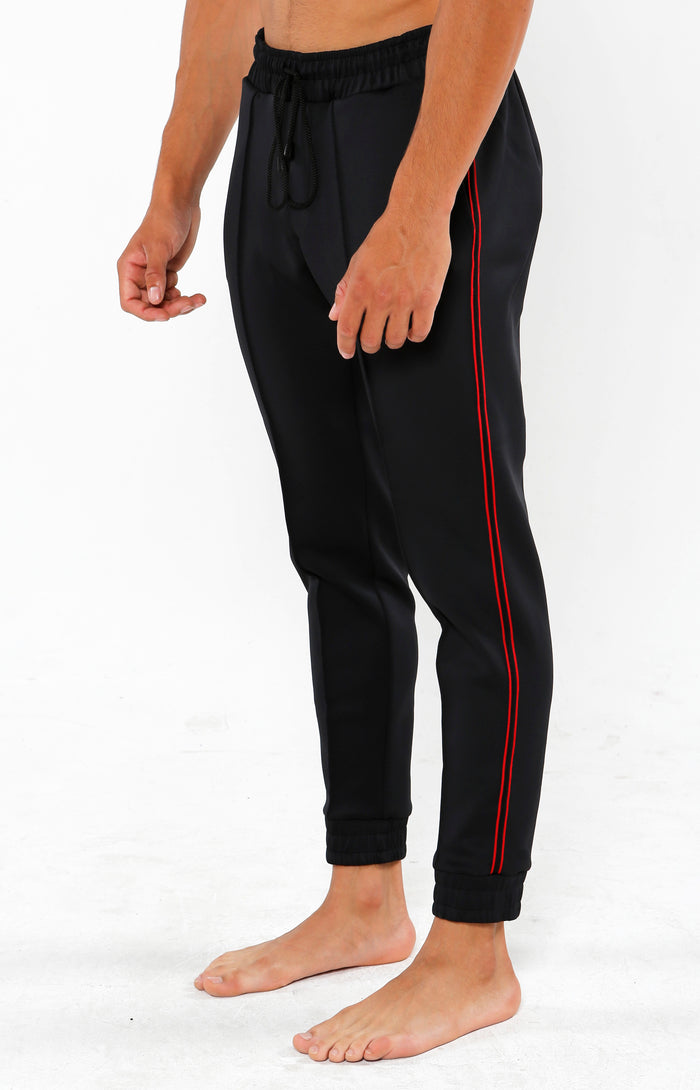 Mesh Athletic Tapered Cuffed Joggers - Jet Black - Golden Aesthetics
