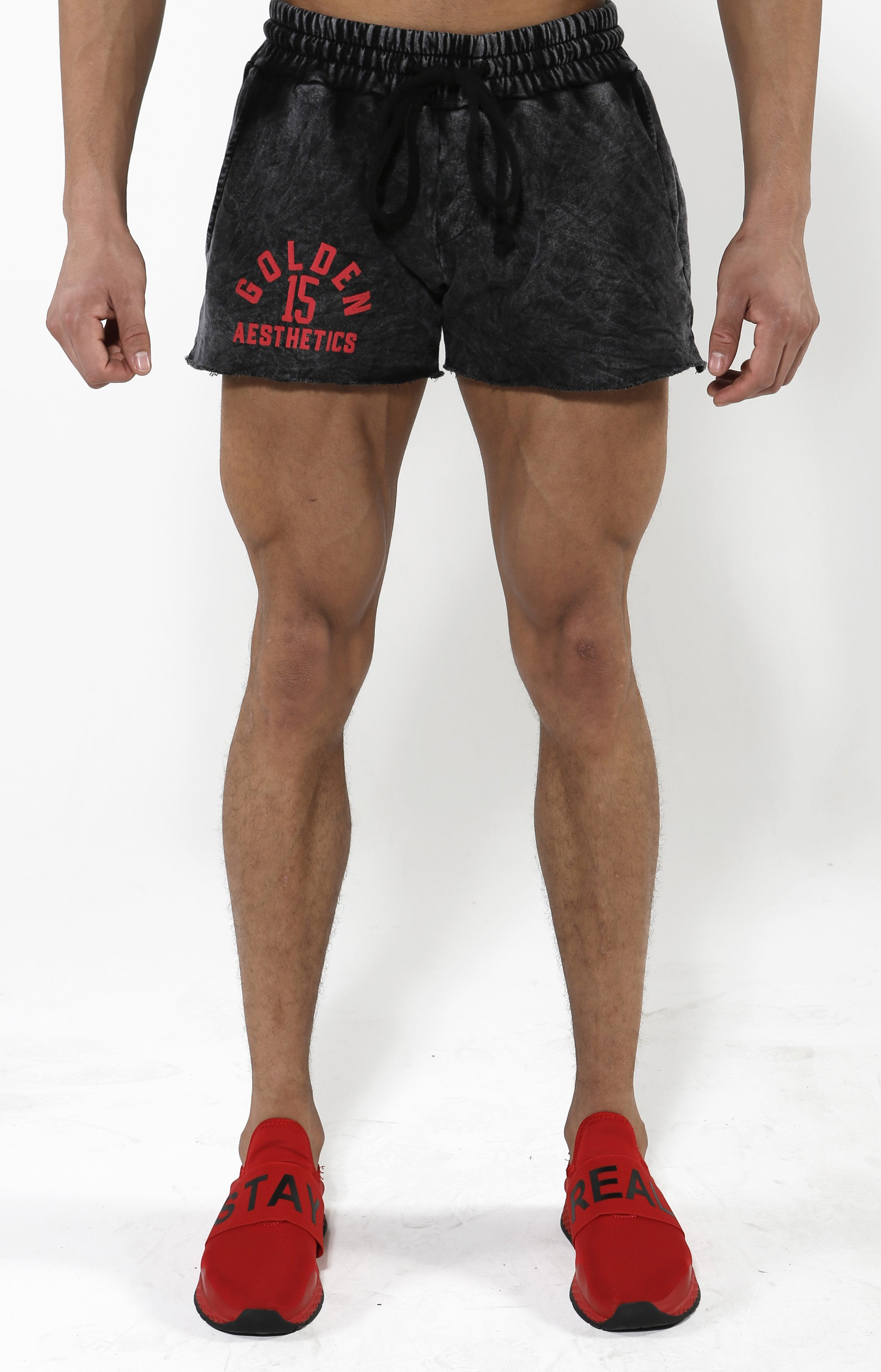 Black Mineral GA15 Shorts Red Puff Print - Golden Aesthetics