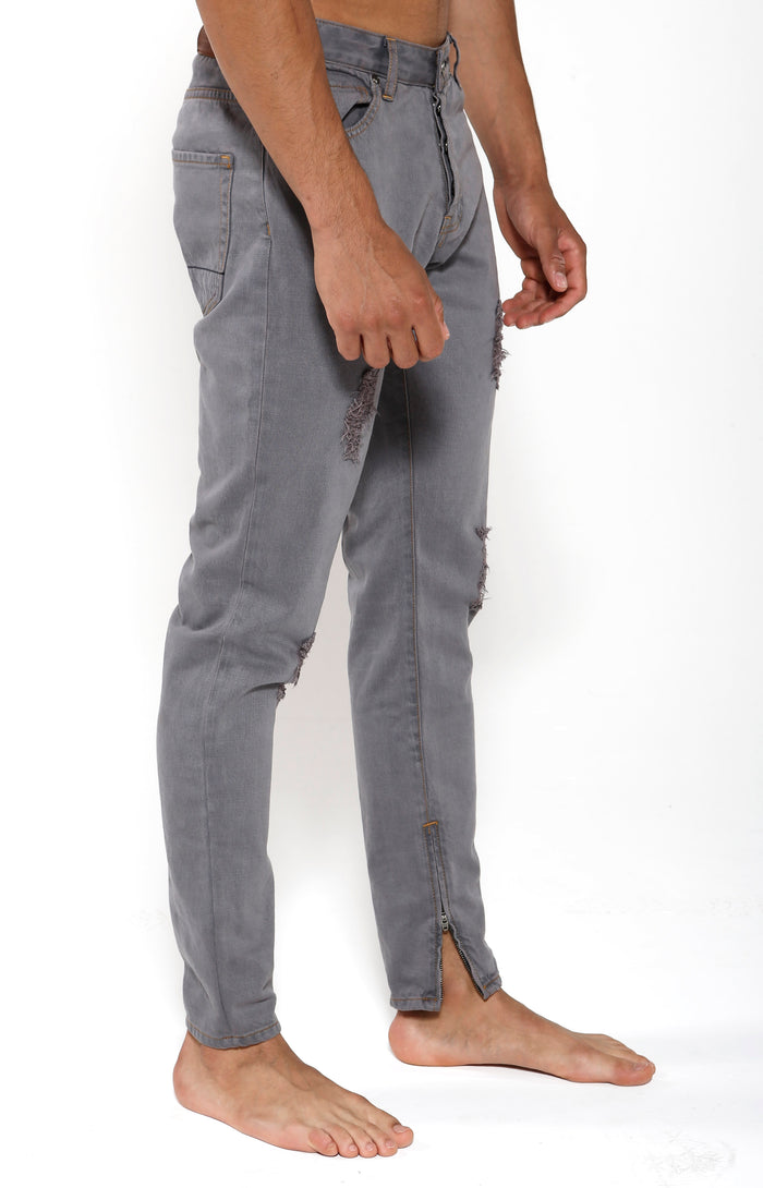 Tapered Stretch Denim - Slate Grey