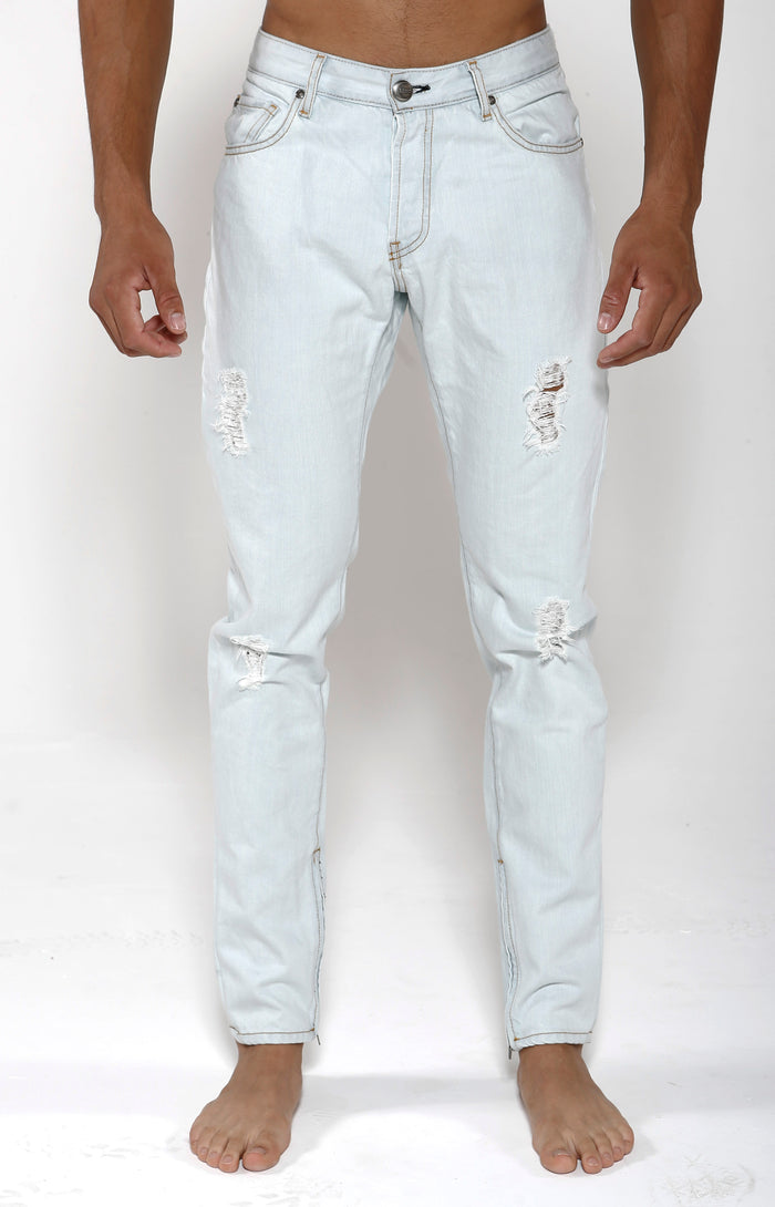 Tapered Stretch Denim - White Bleach