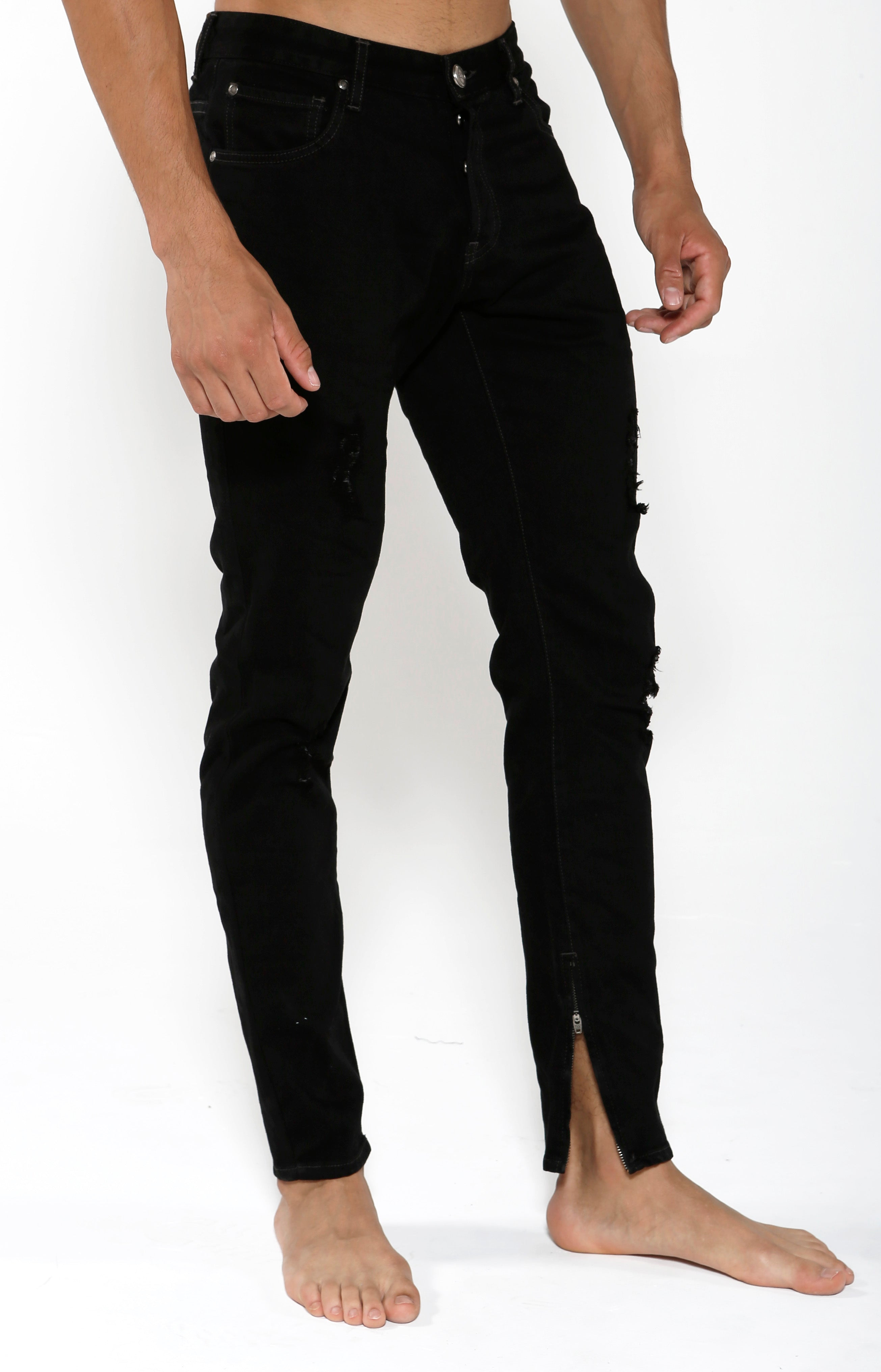 Tapered Stretch Denim - Black Onyx - Golden Aesthetics