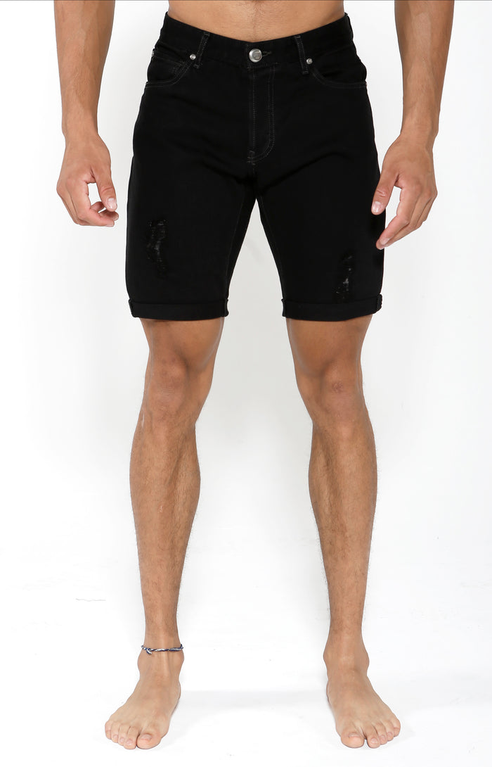 Denim Shorts - Onyx Black - Golden Aesthetics