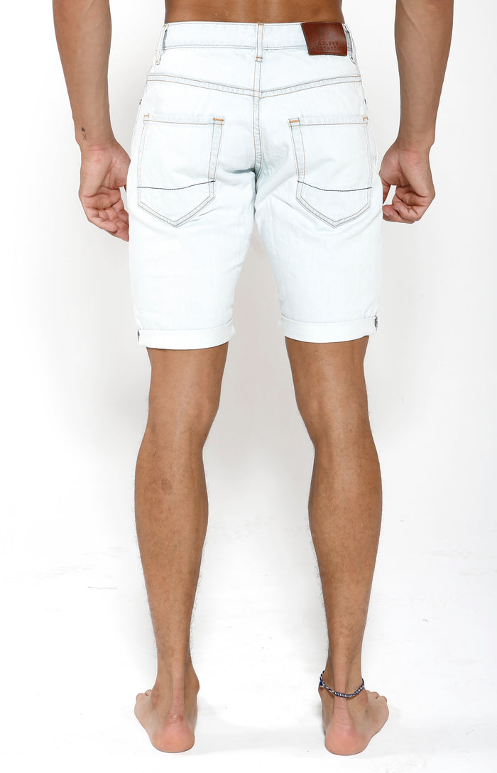 Denim Shorts - White Bleach - Golden Aesthetics
