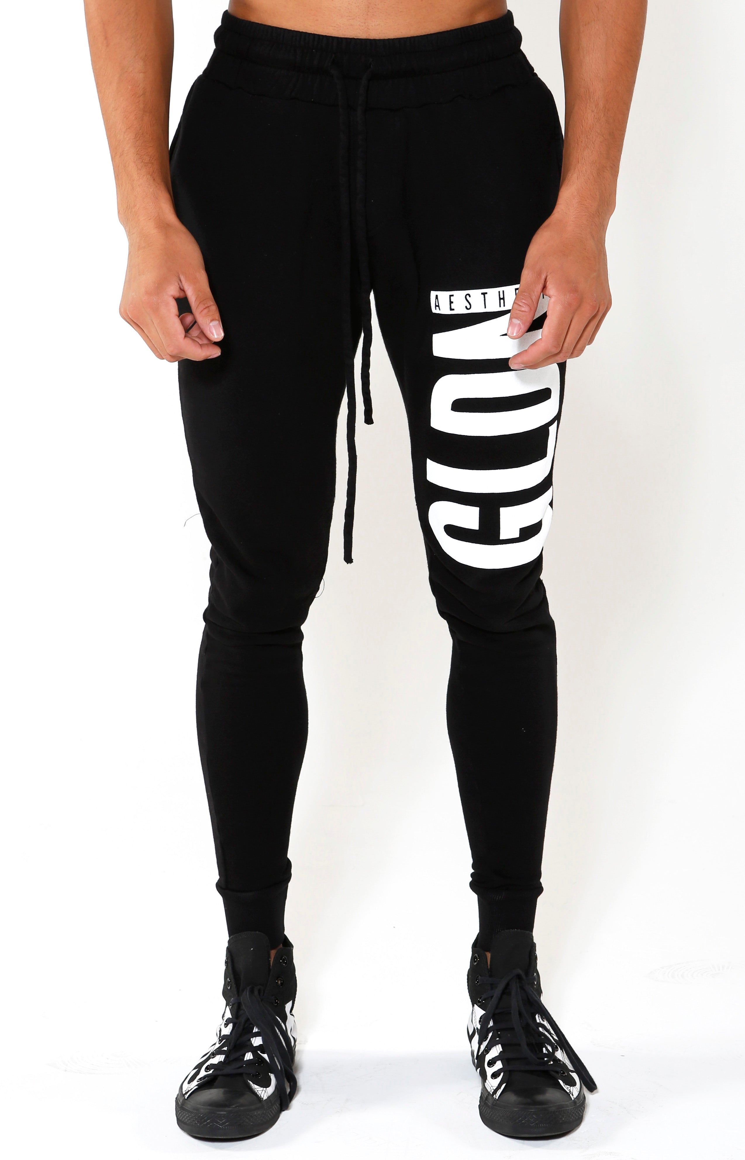 Tapered GA Joggers - Black/White - Golden Aesthetics