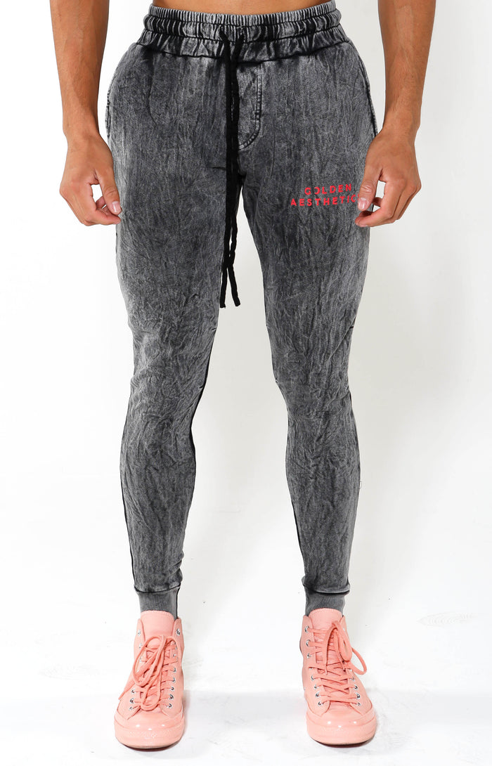 Tapered GA Embossed Crescent Joggers - Black Mineral/Red - Golden Aesthetics