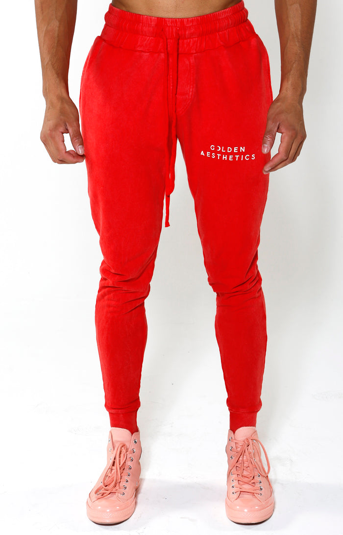 Tapered GA Embossed Crescent Joggers - Red/White - Golden Aesthetics
