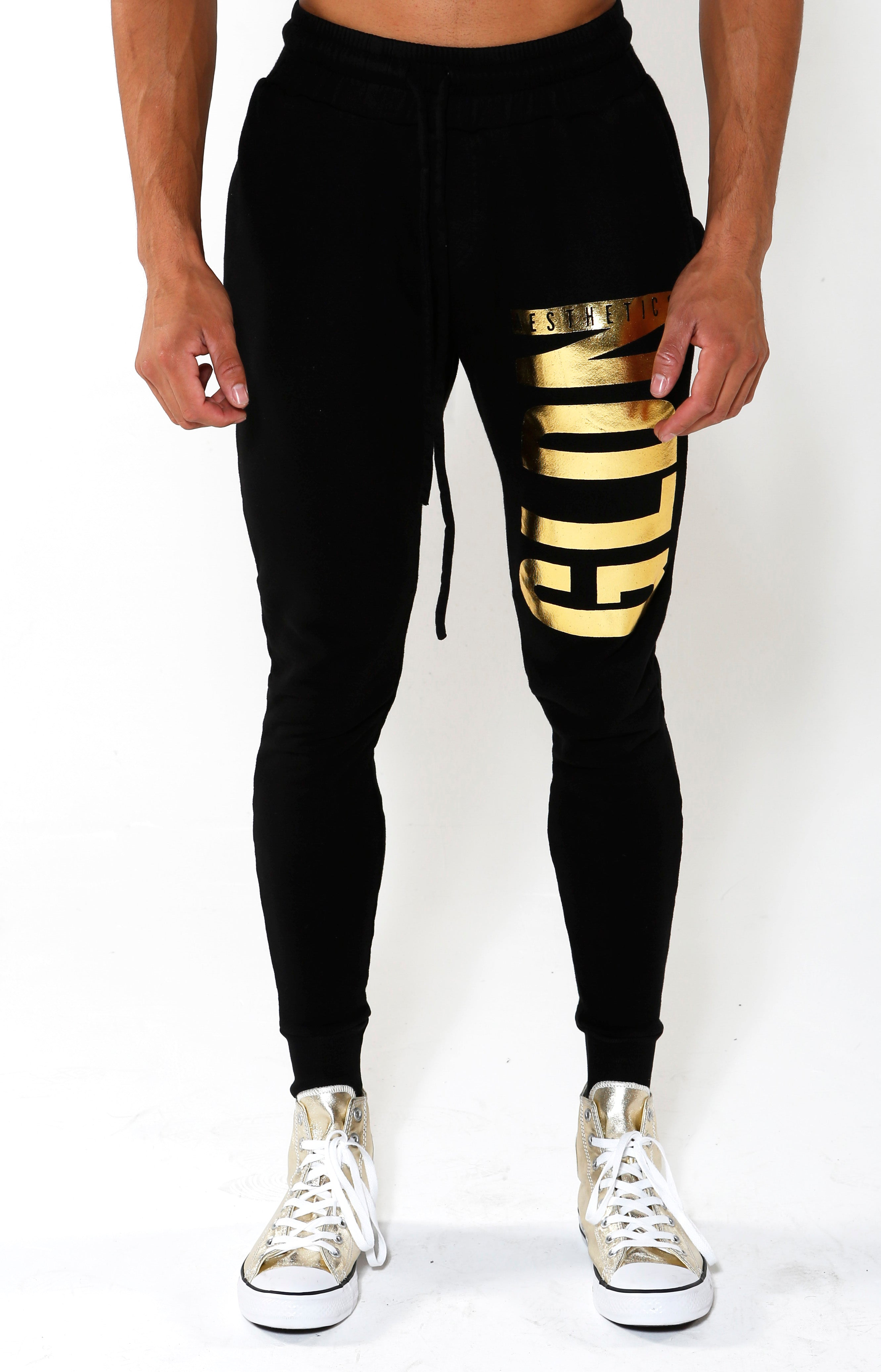 Limited Edition Tapered GA Joggers - Black/Gold - Golden Aesthetics