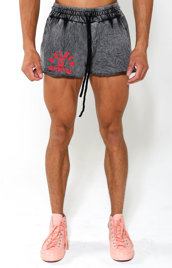 GA 15 Embossed Quad Length Shorts - Charcoal/Red - Golden Aesthetics