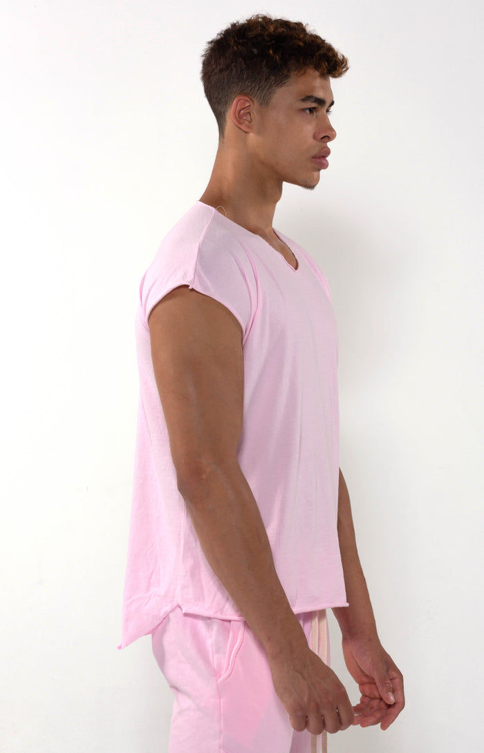 Capped Sleeve Vintage Pink T - Golden Aesthetics