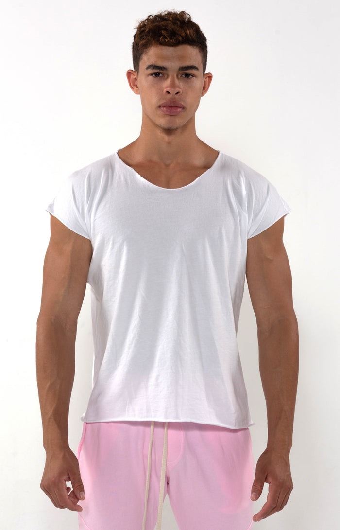 Capped Sleeve White T - Golden Aesthetics
